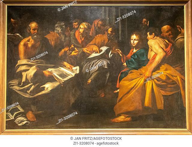 Christ among the doctors from Jusepe de Ribera