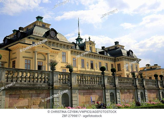 The Drottningholm Palace is the private residence of the Swedish royal family near Stockholm, Sweden