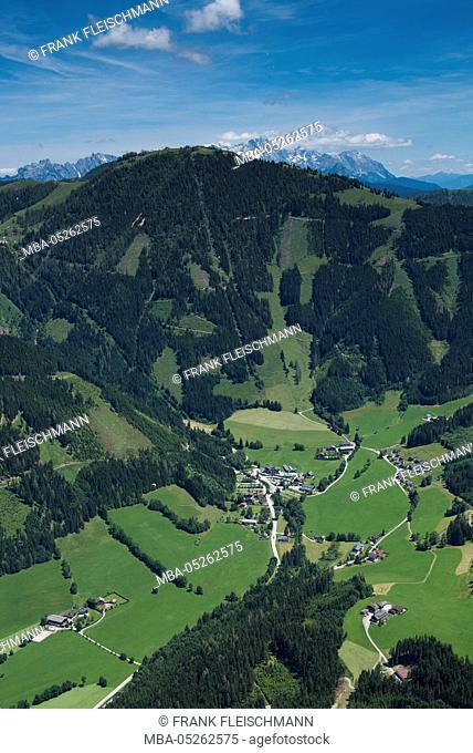 Werfenweng, Salzburg state, Bischling, Bischling mountain railway, Pongau, Tennen Mountains, aerial picture, town centre, summer, Austria