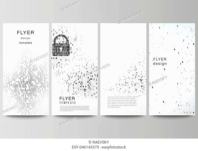 The minimalistic vector illustration of the editable layout of flyer, banner design templates. Binary code background. AI, big data, coding or hacker concept