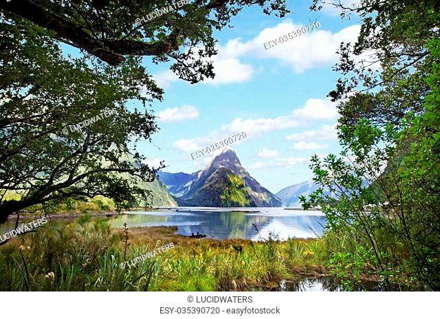Mitre Peak mountain in Milford Sound, New Zealand. It's an iconic mountain and one of the most photographed peaks in New Zealand
