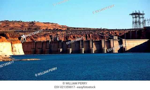 Glen Canyon Dam Lake Powell Electric Power Towers Lines Arizona