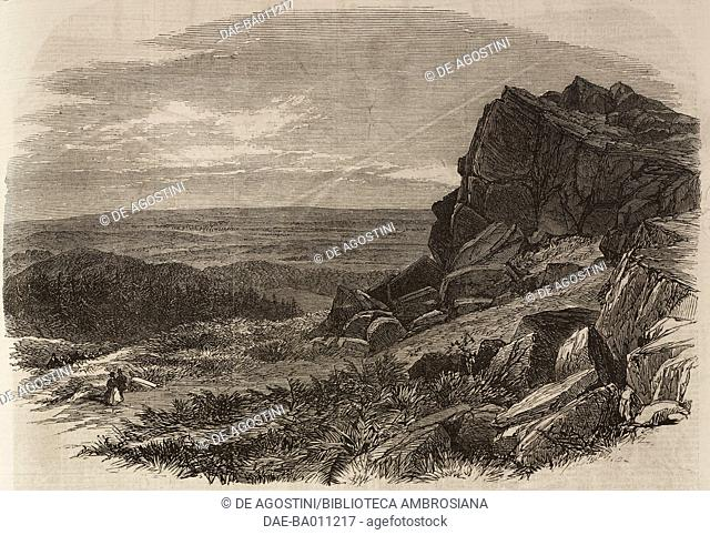 View of Beacon Hill, Charnwood Forest, United Kingdom, illustration from the magazine The Illustrated London News, volume XLIX, September 1, 1866