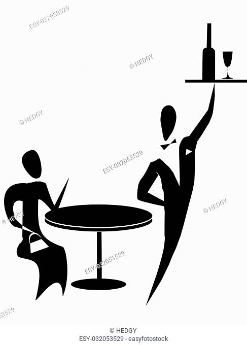 Waiter and visitor in restaurant