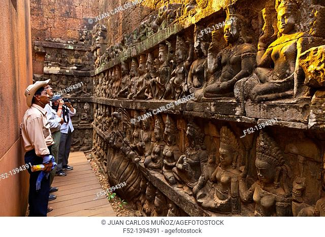 Leper King Terrace  Angkor Thom  Angkor  Siem Reap town, Siem Reap province, Cambodia, Asia