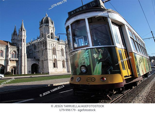 Tram in front of the Geronimos Monastery in the Belem area of Lisbon, Portugal, Europe