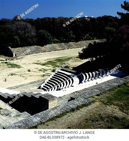 The Odeon (theatre) and the stadium, Acropolis of Rhodes, Rhodes island, Greece. Greek civilisation, 5th-3rd century BC