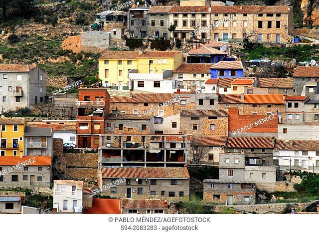 Facades of Royo Odrea town, Albacete province, Spain