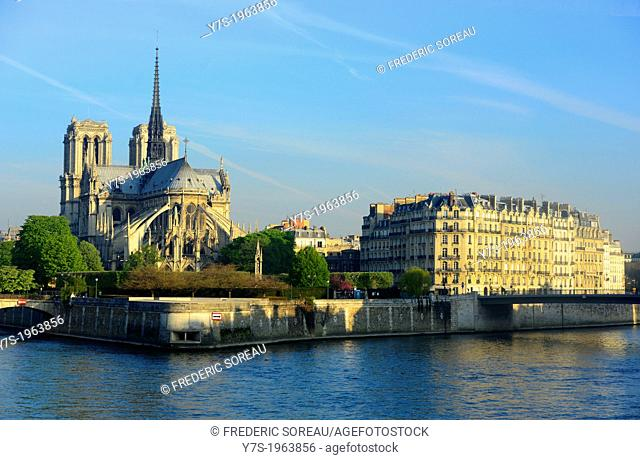 Notre Dame de Paris cathedral and Seine river in Paris,France,Europe