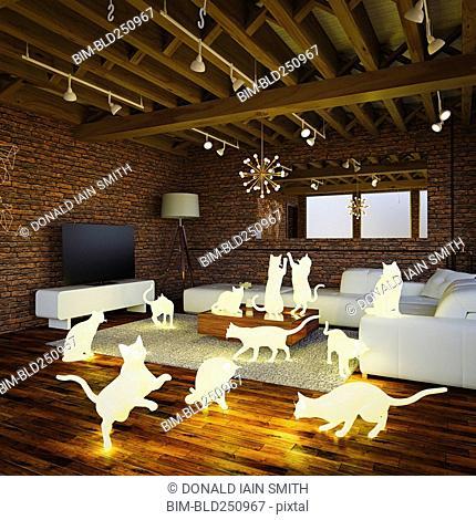 Glowing cats in livingroom