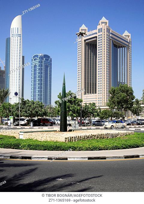 Highrise buildings on Sheikh Zayed Road, Dubai, United Arab Emirates