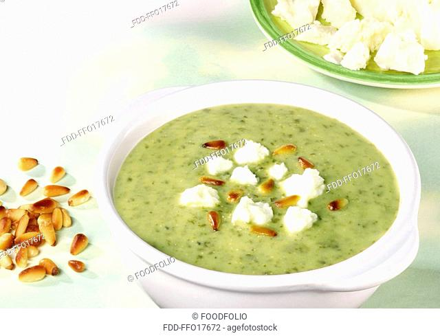 Watercress Soup With Feta And Pine Kernels - Non Exclusive