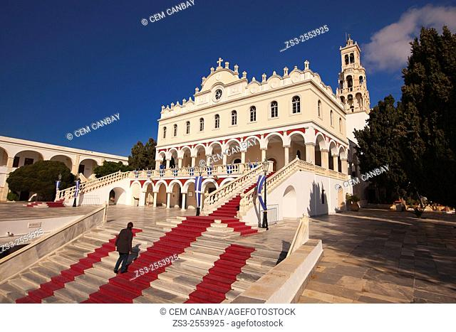 Visitor at the stairs of the Panagia Evangelistria-Our Lady of Tinos church, Hora, Tinos, Cyclades Islands, Greek Islands, Greece, Europe