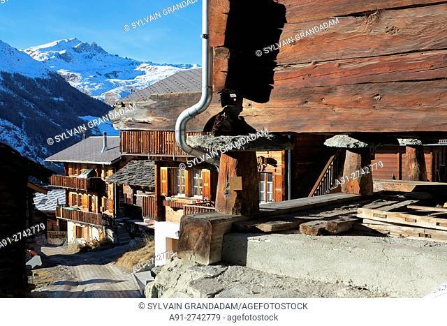 Switzerland, Valais, Val d'Herens, village of Evolene in winter