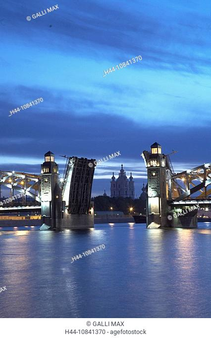 Russia, Saint Petersburg, Peter the Great Bridge, White night, White nights, open, Bolsheokhtinsky Bridge, suspended-d