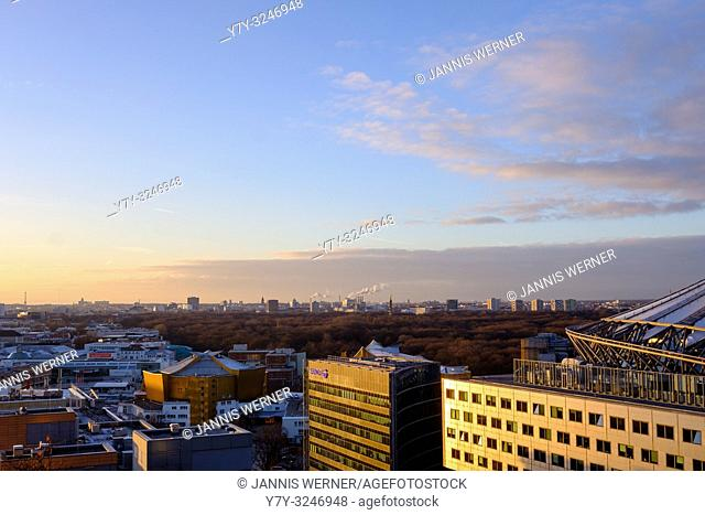 View over Berlin at sunset from Potsdamer Platz
