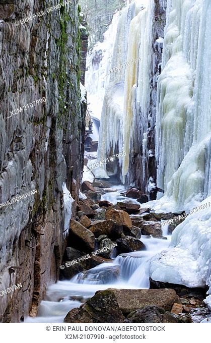Franconia Notch State Park -Flume Gorge in Lincoln, New Hampshire USA during the winter months
