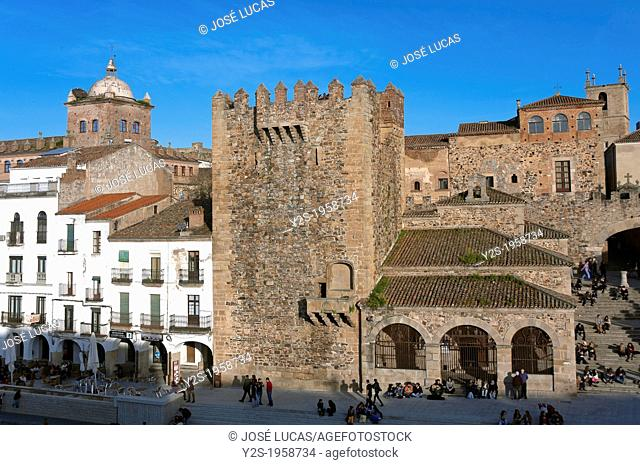 Bujaco tower -12th century and Hermitage of the Peace -18th century, Caceres, Region of Extremadura, Spain