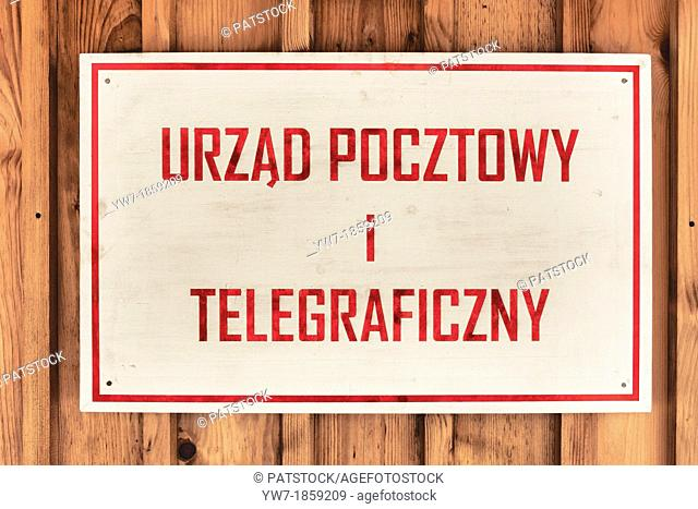 Vintage Polish Postal and Telegraph signboard in Rural Architecture Museum open air museum in Sanok, Poland