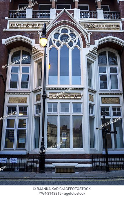 Claremont Library - Brassey Institute, an example of Victorian revival decorative Venetian Gothic architecture. , Hasting, East Sussex, England, UK