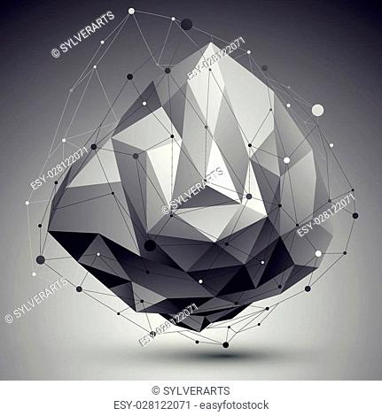 3D mesh modern style abstract background, origami futuristic template with lines mesh