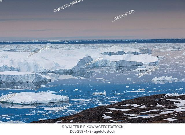Greenland, Disko Bay, Ilulissat, elevated view of floating ice
