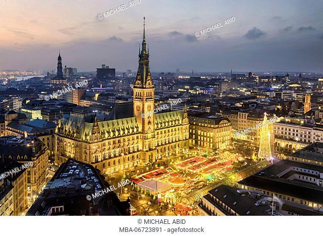 City Hall and Christmas market in Hamburg, Germany