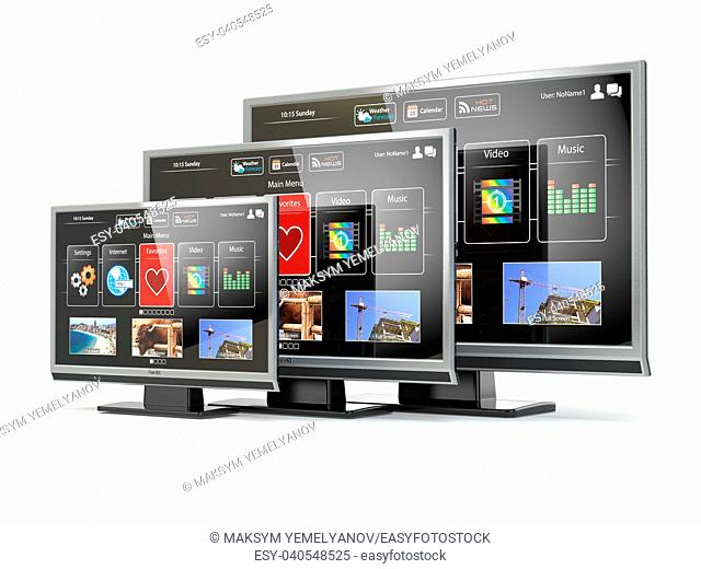 Smart TV flat screen lcd or plasma with web interface isolated on white. Digital broadcasting television. 3d