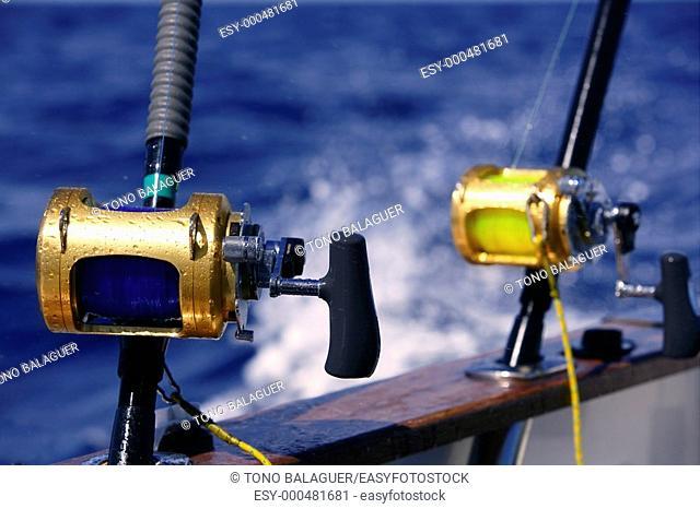 Angler boat big game fishing in saltwater ocean