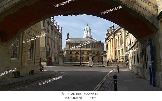 The Sheldonian Theatre through the 'Bridge of sighs' in Oxford, UK