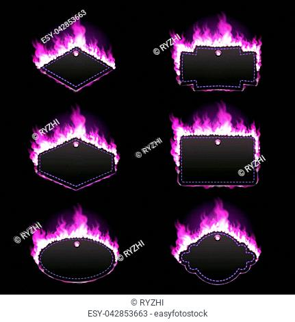 Set of six frames of different shapes with text space surrounded with realistic purple flame isolated on black background. Burning fire light effect