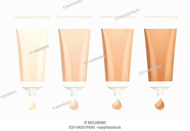 Foundation Cream Palette. Different Tone for Skin. Vector illustration
