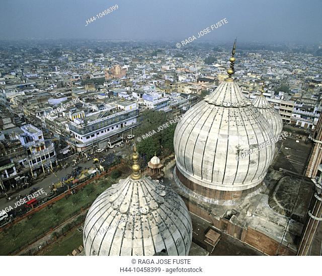 10458399, Old Town, India, Asia, Jama Masjid mosque, domes, new Dehli, overview