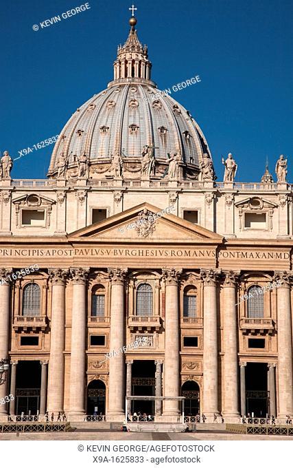 Facade of St Peters Basilica Church, Vatican, Rome