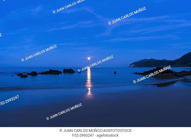 The Moon in Trengandin beach, Noja, Marismas de Santoña, Noja y Joyel Natural Park, Cantabrian Sea, Cantabria, Spain, Europe