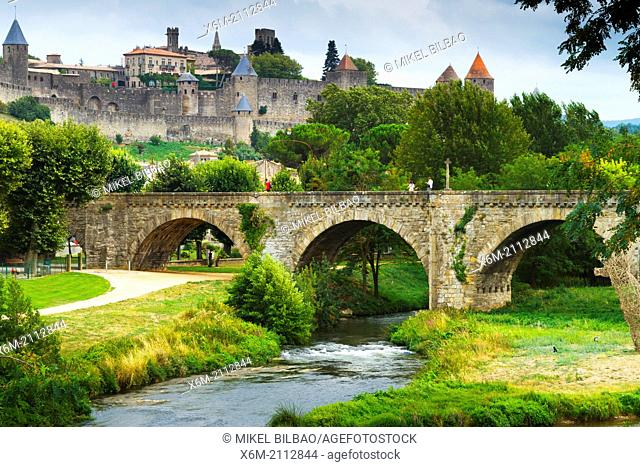 Fortress and Pont Vieux (old bridge) and Aude river.Carcassonne medieval city. France, Europe