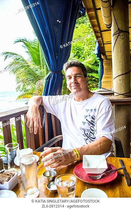 Tourist in resort. Isla Bastimentos, Bocas del toro, Panama