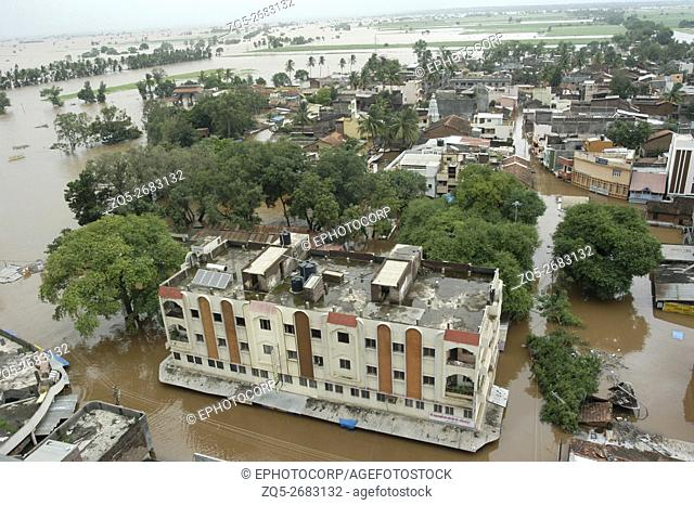 Top view of a city affected by floods