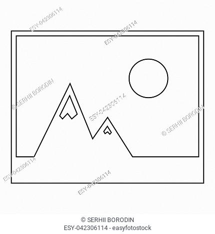 Picture of mountains and Sun the black color icon vector illustration