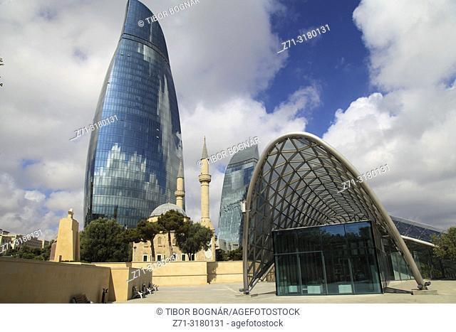 Azerbaijan; Baku; Martyrs' Mosque; Flame Tower,