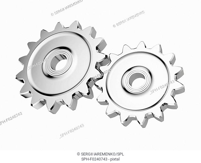 Steel gear wheels isolated on white background. 3d illustration