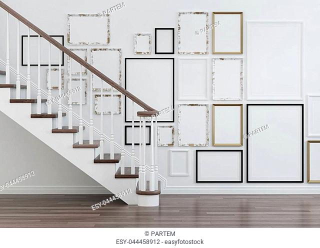Interior with stairs and frames. 3D rendering