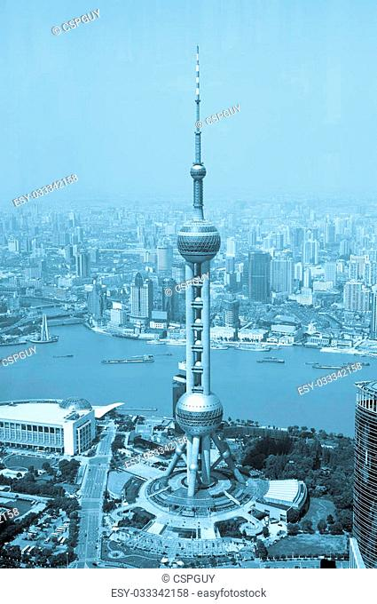 China Shanghai the pearl tower, the Bund and Puxi skyline
