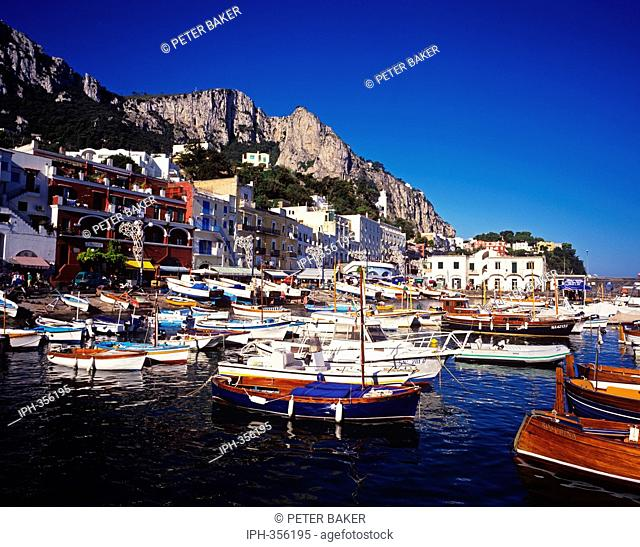 Marina Grande, the picturesque harbour on the Island of Capri in the Gulf of Naples
