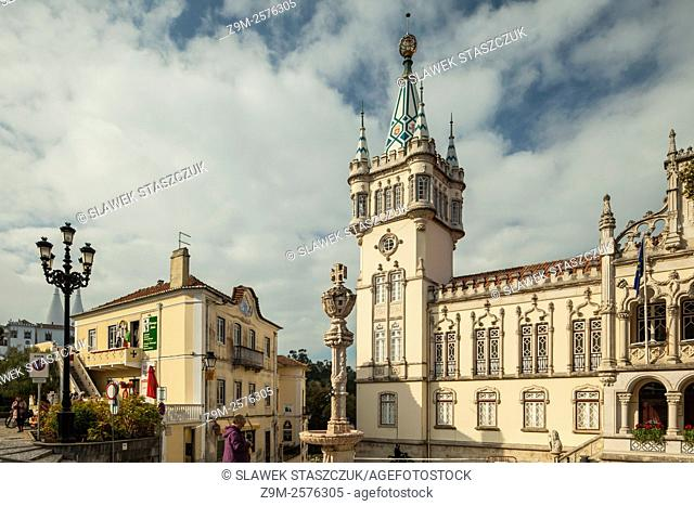 Sunny day at Sintra Town Hall, Portugal