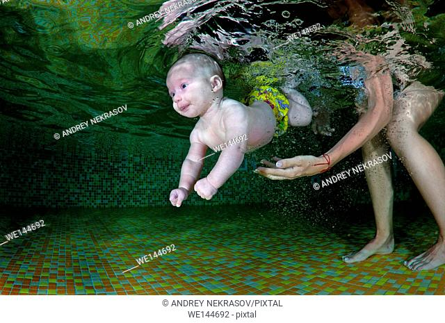 4 months infant learning to swim underwater in waterbaby class in the pool, Eastern Europe, Ukraine