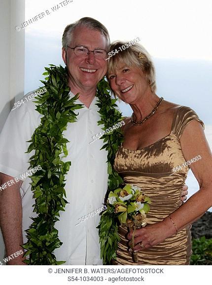 A newlywed couple in Hawaii