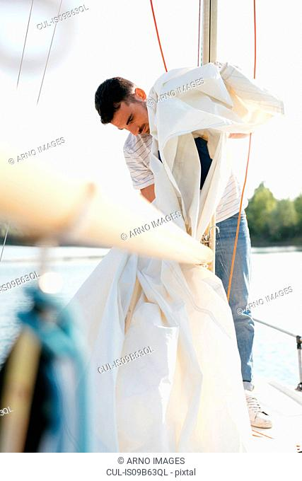 Man on sailing boat, taking down sail