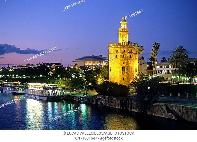 Gold tower, as seen from Guadalquivir river  Seville, Andalusia, Spain