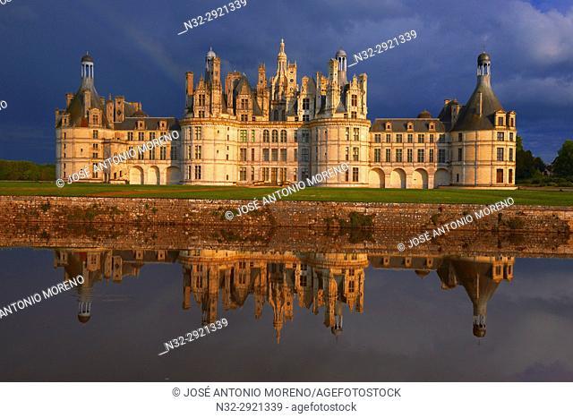 Chambord, Chambord Castle, Chateau de Chambord, Sunset, Loir et Cher, Loire Valley, Loire River, Val de Loire, UNESCO World Heritage Site, France